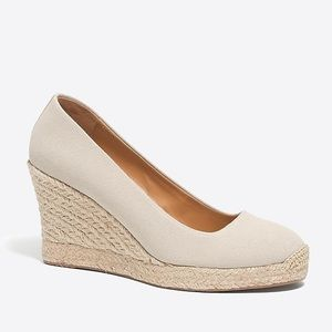 NEW J. Crew Flax Canvas Espadrilles Wedges Heels